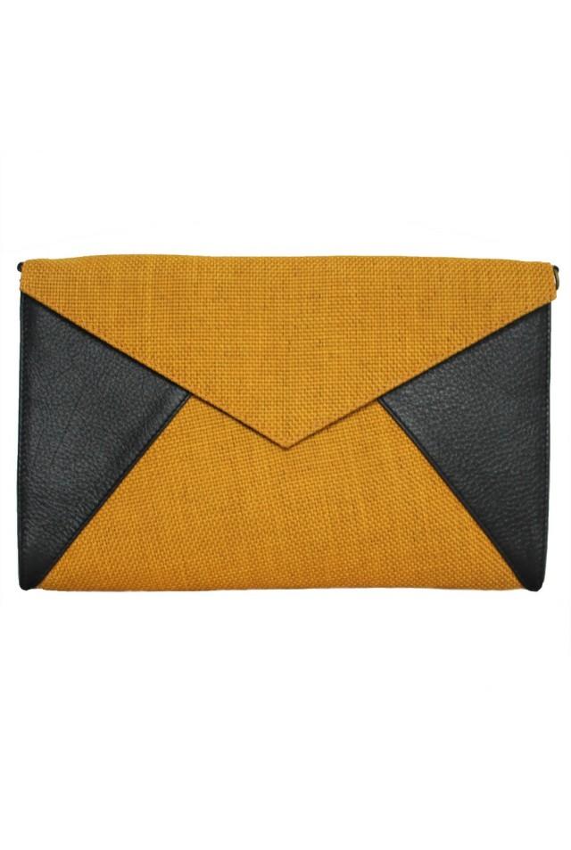 Enveloppe noire et jaune moutarde